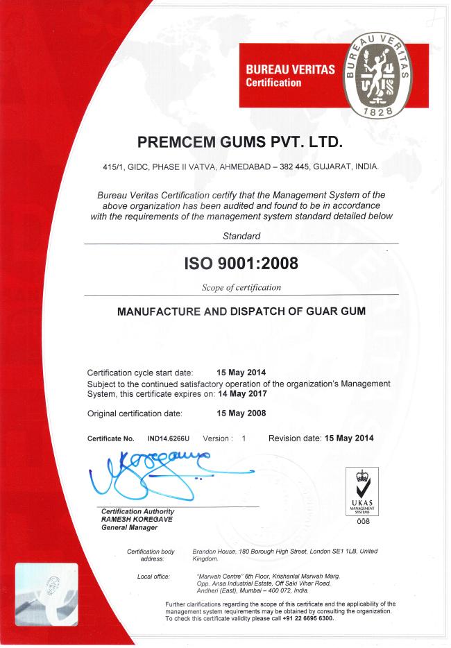 Certifications Premcem Gums Iso 9001 Fssc 22000